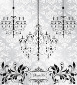 Luxury chandelier on floral background — Stok Vektör