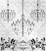 Lámpara chandelier sobre fondo floral — Vector de stock