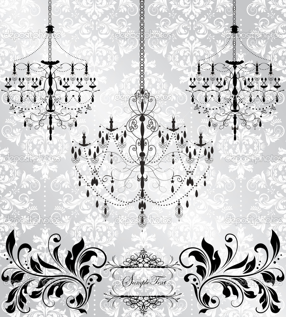 Damask invitation card with chandelier — Stock Vector #7276106
