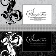 ストックベクタ: Abstract floral black and white invitation card