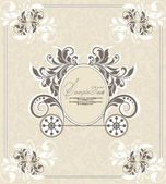 Vintage wedding invitation design with carriage — Vector de stock