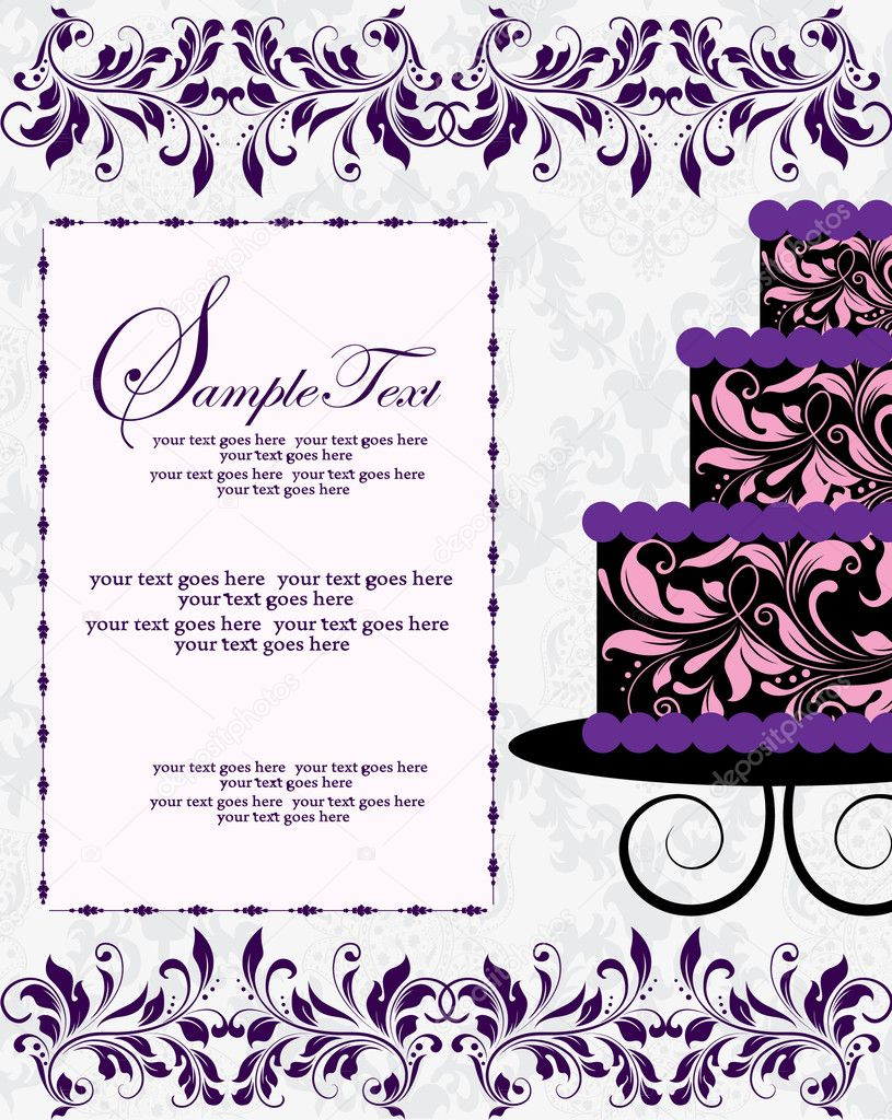Floral invitation card with cake — Stock Vector #7331606