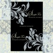 Blue vintage invitation card with floral background — Image vectorielle
