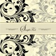 Vintage invitation card with abstract floral background - Imagen vectorial