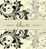 Vintage invitation card with abstract floral background — Vecteur