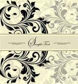花の抽象的な背景とビンテージの招待カード — ストックベクタ