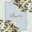 Blue vintage invitation card with floral background - Image vectorielle