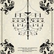 Romantic Vintage Invitation Card Design With Chandelier — Imagen vectorial