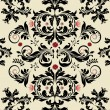 Floral seamless pattern with red and black elements — Image vectorielle