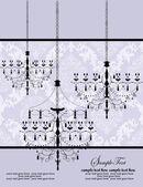 Luxury chandelier on purple floral background — Stock Vector