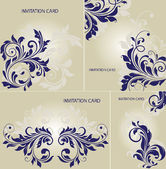 SET OF FOUR INVITATION CARD WITH FLORAL ELEMENTS — Stock Vector