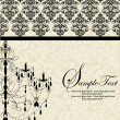 Vector de stock : ELEGANT VINTAGE INVITATION CARD WITH CHANDELIER