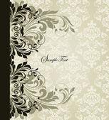 Carte d'invitation vintage avec floral abstrait — Vecteur