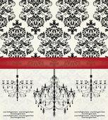 Romantische uitnodiging kaart ontwerp met kroonluchter — Stockvector