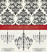 Romantic Invitation Card Design With Chandelier — Stock Vector