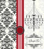 シャンデリアやテキストのための場所とロマンチックな招待名刺デザイン — ストックベクタ