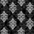 Vector de stock : Black and white damask illustration