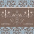 Vintage damask invitation card with chandelier — Imagen vectorial