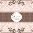 Pink vintage damask invitation card — Vector de stock #7547643