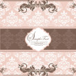 Pink vintage damask invitation card — Wektor stockowy #7547643
