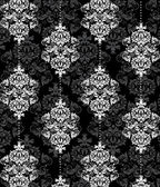 Black and white damask illustration — Vector de stock