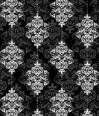 Ilustración de damasco blanco y negro — Vector de stock