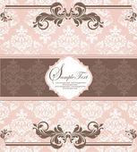 ピンクのヴィンテージのダマスク織の招待カード — ストックベクタ