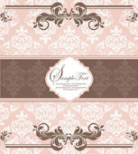 Tarjeta de invitación damasco vintage rosa — Vector de stock