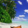 Tropical beach and ship — Stock Photo