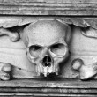 Skull carved in stone — Stockfoto