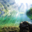Royalty-Free Stock Photo: Alpine lake with sun rays