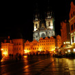 Old town square at night - Stock Photo