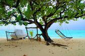 Two hammocks and sea — Stock Photo