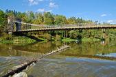 Ponte széchenyi lánchíd e navio — Fotografia Stock