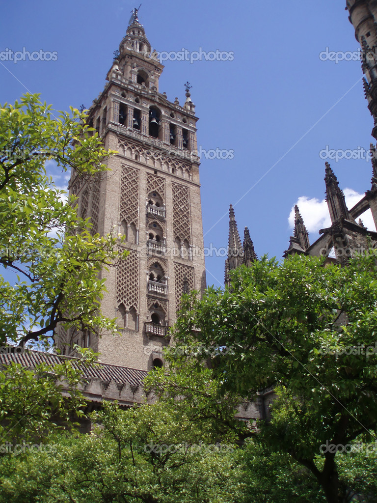 View wt a famous tower of a mighty cathedral Girlada in Sevilla, Spain  Stock Photo #6807830