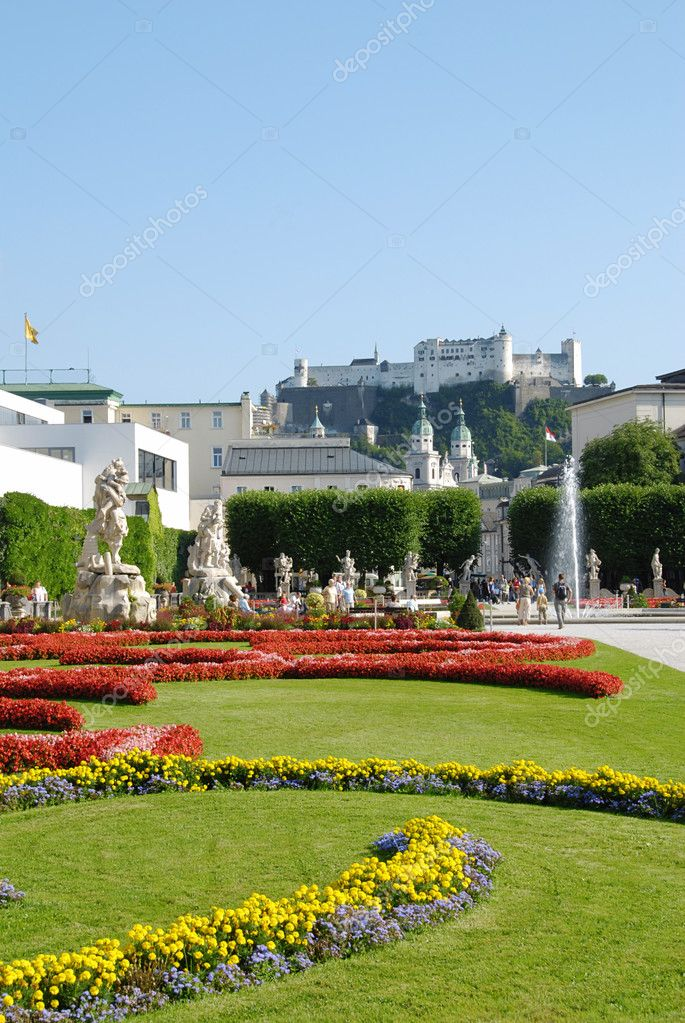 View at Austrian citySalzburg castle from the gardens  — Stock Photo #6808853