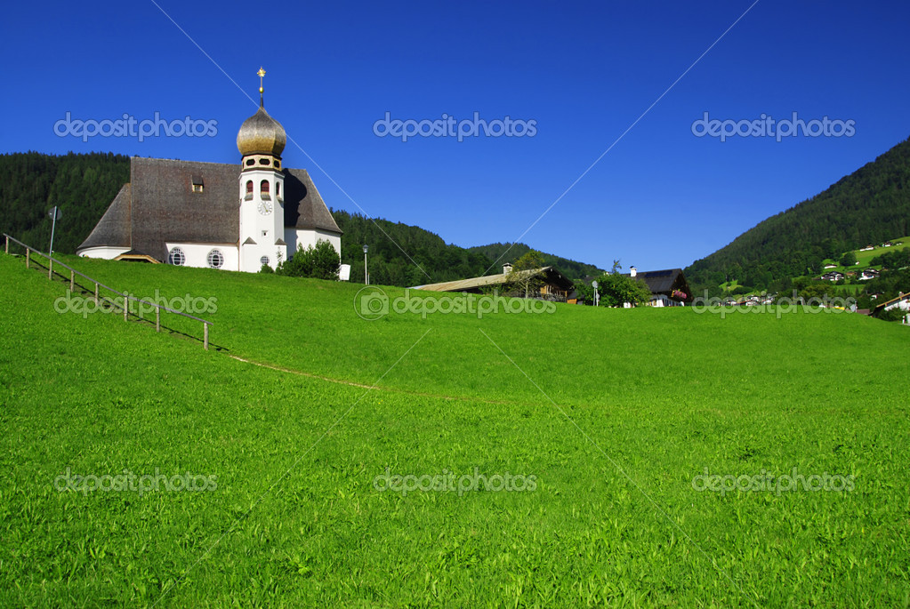 Beautiful white church in the Alps, Bavaria - Germany   Stock Photo #6809001