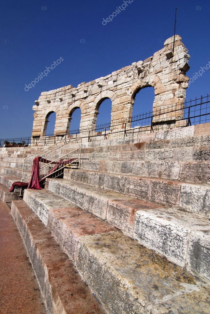 Roman amphiteatre called Arena di Verona, actually used as opera theatre, Italy   Stock Photo #6809434