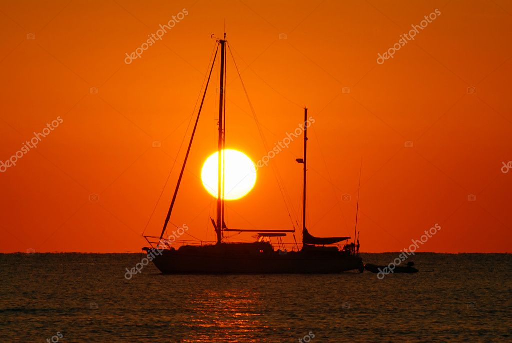 Sailing Boat Sunrise Sailing Boat Silhouette And