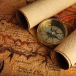 Royalty-Free Stock Photo: Compass and a map