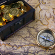 Compass and a map — Stock Photo #6811006
