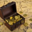 Stock Photo: Map and treasure chest