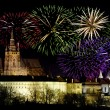 Prague castleand New Year celebrations — Stock Photo