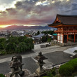 Beautiful dramatic sunset seen from the Kiyomizu-dera shrine above Kyoto, Japan. HDR — Stock Photo #6812323