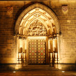 Portal of a czech cathedral in the night - Stock Photo