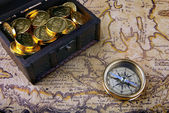 Compass and a map — Stock Photo