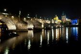 Charles bridge in deep night — Stock Photo