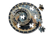 Puzzle ofAstronomical clock in Prague — 图库照片