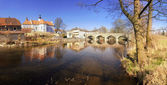 Mirovice town and river Skalice — Stock Photo