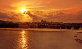 Golden sunset and Prague — Stock Photo